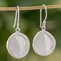 Fine silver dangle earrings, 'Shimmering Circles' - Combination Finish Fine Silver Shimmering Dangle Earrings