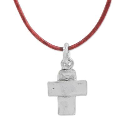 Fine Silver Cross Pendant Necklace wth Cord from Guatemala