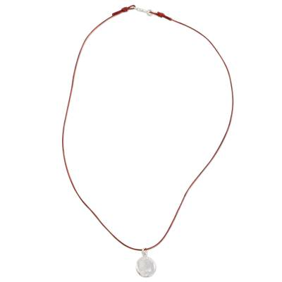 Fine Silver and Leather Fingerprint Necklace from Guatemala