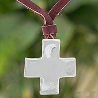 Fine silver pendant necklace, 'Unwavering Faith' - Cross Shaped Fine Silver Pendant Necklace from Guatemala