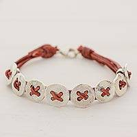 Fine silver and leather wristband bracelet, 'Friendship Buttons in Red' - Leather Fine Silver Wristband Bracelet 8 Buttons Guatemala