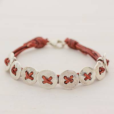 Fine silver and leather wristband bracelet, Friendship Buttons in Red