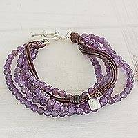 Fine silver and amethyst beaded wristband bracelet, 'Feminine Sweetness' - Amethyst Leather and Fine Silver Beaded Wristband Bracelet