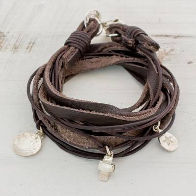 Leather Fine Silver Wrap Charm Bracelet