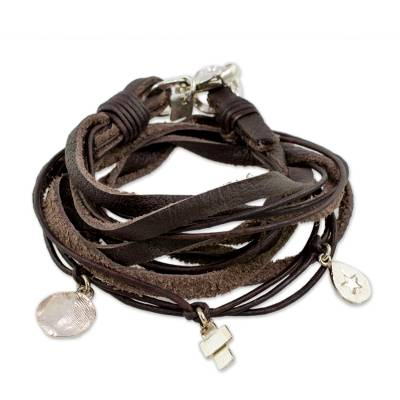 Leather Fine Silver Wrap Charm Bracelet from Guatemala