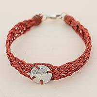 Silver and leather wristband bracelet, 'Mother Claudia in Red' - Red Leather 999 Silver Braided Wristband Bracelet Guatemala