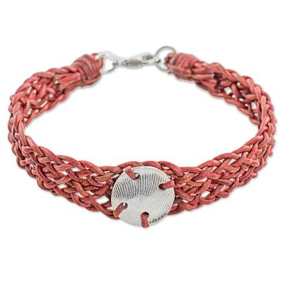 Red Leather 999 Silver Braided Wristband Bracelet Guatemala