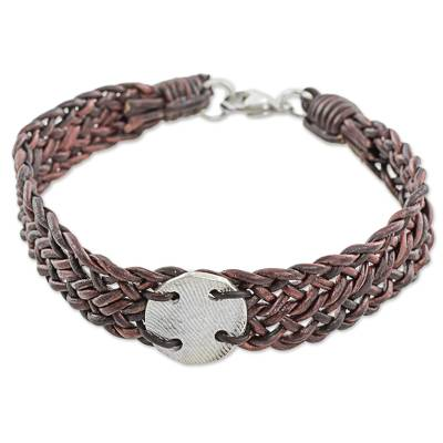 999 Silver Brown Braided Wristband Bracelet from Guatemala