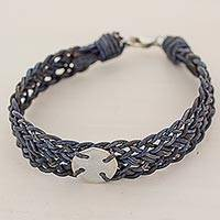 Silver and leather wristband bracelet, 'Mother Claudia in Blue' - 999 Silver Blue Braided Wristband Bracelet from Guatemala
