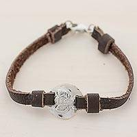 Silver and leather wristband bracelet, 'Good Luck Bumblebee' - 999 Silver Bumble Bee Leather Wristband Bracelet Guatemala