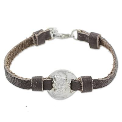 999 Silver Bumble Bee Leather Wristband Bracelet Guatemala