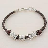 Silver and leather wristband bracelet, 'Silver Love in Brown' - 999 Silver Brown Pendant Wristband Bracelet from Guatemala