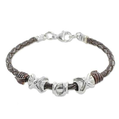 999 Silver Brown Pendant Wristband Bracelet from Guatemala