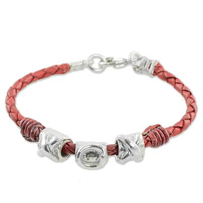 999 Silver Red Leather Pendant Wristband Bracelet Guatemala