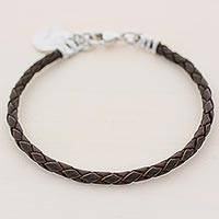 Fine silver and leather wristband bracelet, 'Walk of Life in Brown' - Fine Silver Brown Leather Charm Wristband Bracelet Guatemala