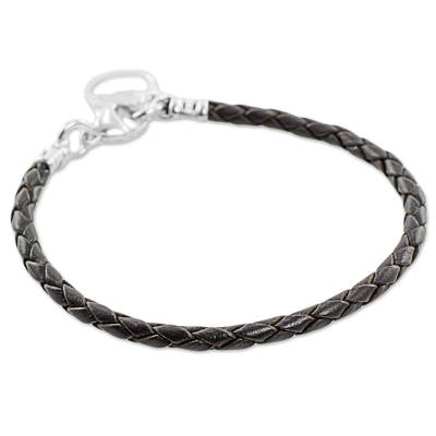 Fine Silver Brown Leather Charm Wristband Bracelet Guatemala