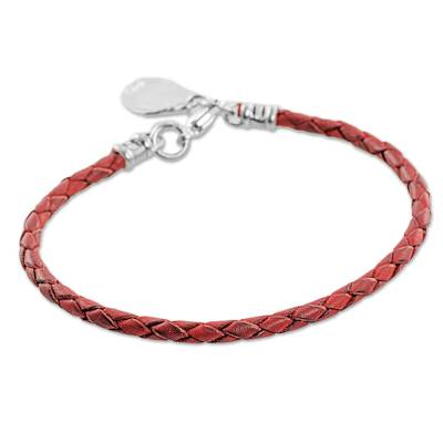 999 Silver Red Leather Charm Wristband Bracelet Guatemala