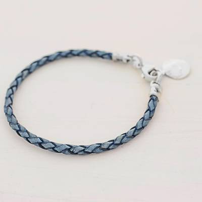 Silver and leather wristband bracelet, 'Walk of Life in Blue' - 999 Silver Blue Leather Charm Wristband Bracelet Guatemala