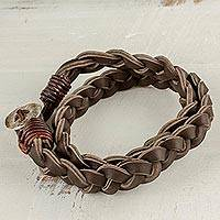 Leather and fine silver braided wrap bracelet,