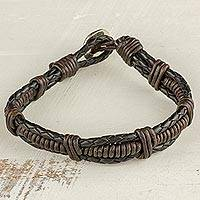 Leather and fine silver braided wristband bracelet, 'Casual Style' - Fine Silver and Leather Braided Wristband Bracelet in Brown
