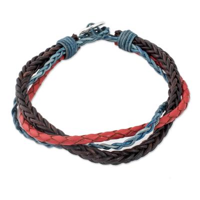 Handmade Guatemalan Leather Braided Wristband Bracelet