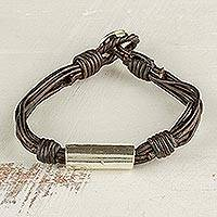 Fine silver pendant bracelet, 'Cords of Love in Brown' - Silver and Leather Pendant Bracelet in Brown from Guatemala