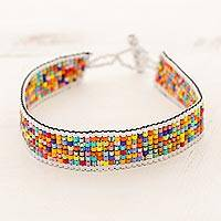 Beaded wristband bracelet, 'Santiago Festival' - Multicolored Glass Bead Wristband Bracelet from Guatemala
