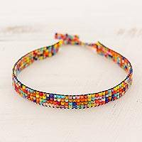 Beaded wristband bracelet, 'Sparkling Colors' - Thin Multicolor Glass Bead Wristband Bracelet from Guatemala