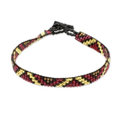 Thin Glass Bead Wristband Bracelet Red Gold from Guatemala