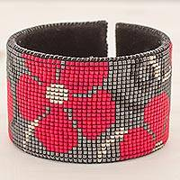 Glass beaded leather cuff bracelet, 'Red Maya Blossoms' - Glass Beaded Red Floral Cuff Bracelet with Leather