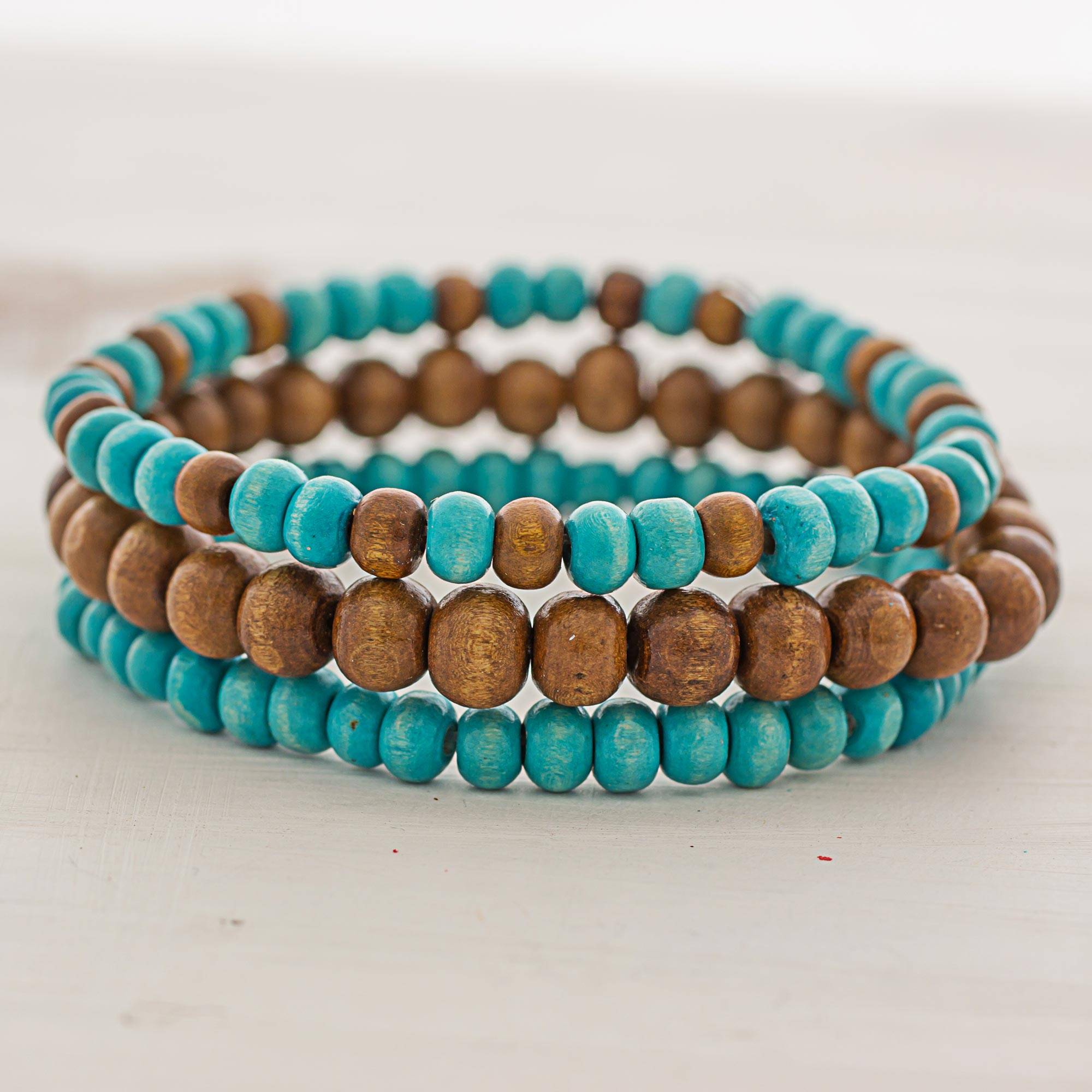 Brown And Blue Wood Beaded Bracelets Set Of 3 Guatemala Force