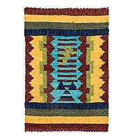 Wool area rug, 'Cuxliquel Volcano' - Guatemalan Hand Woven Multicolored Geometric Wool Area Rug