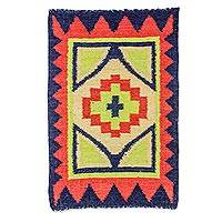 Wool area rug, 'Fiery Star' - Guatemalan Hand Woven Wool Area Rug in Poppy and Midnight