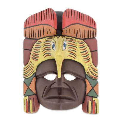 Wood mask, 'Festive Flight' - Hand Crafted Mayan Mask of Carved Wood from Guatemala