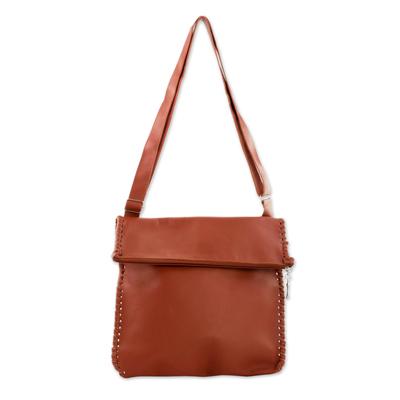 Novica Leather shoulder bag, Coffee Brown Boho