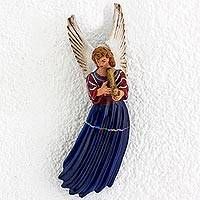 Ceramic wall sculpture, 'Angel of Xenacoj' - Ceramic Wall Sculpture of an Angel in Blue from Guatemala