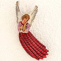 Ceramic wall sculpture, 'Angel of Tactic' - Ceramic Wall Sculpture of Red Angel from Guatemala