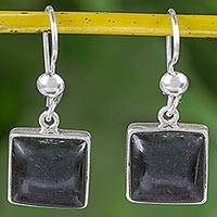 Jade dangle earrings, 'Mayan Eternity' - Handcrafted Silver and Dark Green Guatemalan Jade Earrings