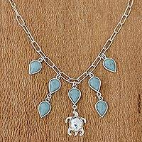 Jade pendant necklace, 'Kawoq Turtle' - Jade and Sterling Silver Turtle Pendant Necklace Guatemala