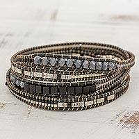 Glass beaded wrap bracelet, 'Stellar Serenade' - Hand Made Glass Beaded Wrap Bracelet Black from Guatemala