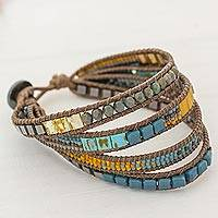 Glass beaded wristband bracelet, 'Amatique Bay' - Multicolored Glass Beaded Wristband Bracelet from Guatemala