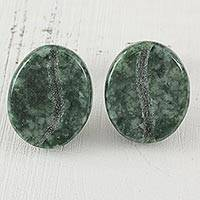 Jade stud earrings, 'Passion for Coffee in Green' - Jade and Sterling Silver Stud Earrings from Guatemala