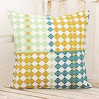 Cotton cushion cover, 'Semuc Champey Treasure' - Geometric Cotton Cushion Cover Eggshell Multicolor Guatemala