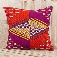 Cotton cushion cover, 'Solola Colors' - Multicolored Hand Woven Cotton Cushion Cover from Guatemala