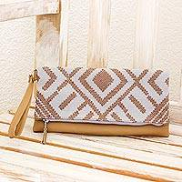 Cotton and leather wristlet, 'Ancient Geoglyphs' - Cotton and Leather Wristlet in Ash and Tan from Guatemala