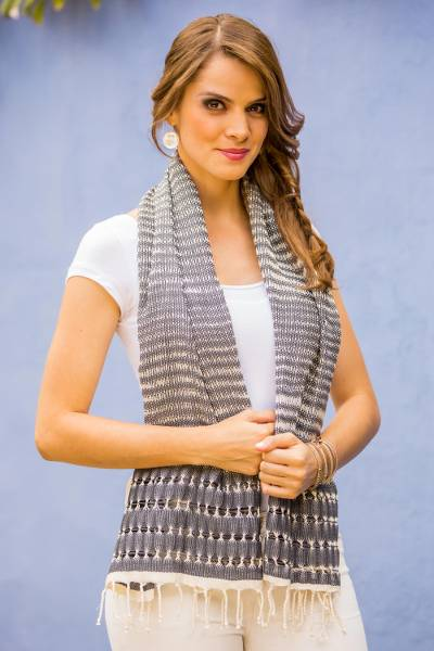 Cotton scarf, 'Grey Roads Found' - Artisan Designed and Crafted Cotton Scarf in Grey
