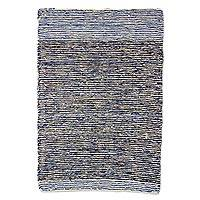Wool area rug, 'Midnight Flow' - Hand Woven Wool Area Rug in Blue and Grey from Guatemala