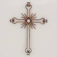 Iron wall cross, 'Light of the Path in Copper' - Iron Wall Decor Antiqued Cross Copper Color from Guatemala