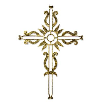 Iron cross, 'Flowering Love in Brass' - Iron Wall Decor Antiqued Cross Brass Color from Guatemala