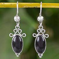 Jade dangle earrings, 'Traditional Harmony' - Black Guatemalan Jade and Sterling Silver Dangle Earrings